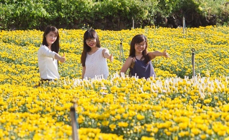 chụp ảnh tại làng Hoa